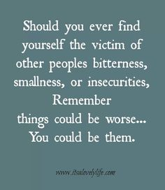 Always be the bigger person....if I were them, I would have probably already jumped off a bridge!  Thank God for an amazing life and no need to find fault in others