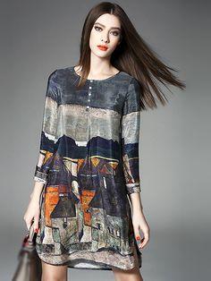 Fashion Floral Print Long Sleeve Silk Dress from DressSure.com #dresssure #fashion #dresses #HighQuality