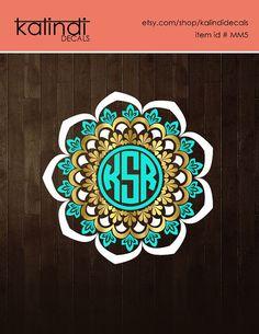 Circle Mandala Monogram Decal | 3 colors Yeti monogram decal | Car window decal…