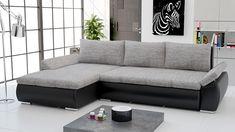 Canapé d'angle convertible en PU noir et tissu gris BOLZANO