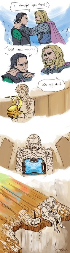 I thought you dead! by crimson-sun || Loki Laufeyson, Thor Odinson, Frigga, Odin || 400x1441 || #fanart