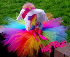 Custom Boutique Rainbow Number with or without candy and lollipops ages 1-5 Birthday Tutu. $42.95, via Etsy.