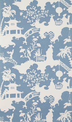 No. 9 Thompson Tea Party wallpaper by Richard Smith for No. 9 Thompson; to the trade.  -- 6 Colorful Wallpaper Options for Your Bathroom Photos -- Architectural Digest -- 3-7-17