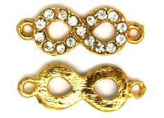 2 pc Gold Tone INFINITY Rhinestone Bracelet Connector. 18mm x 7mm. by AgouraBeads on Etsy
