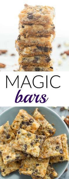 These 7 Layer Magic Bars are made with a graham cracker base chocolate chips nuts coconut and sweetened condensed milk they are the perfect mix of gooey crunchy sweet and salty and they are so easy! Includes step by step recipe video Graham Cracker Dessert, Graham Cracker Recipes, Recipes With Graham Crackers, Graham Cracker Crust, Easy Desserts, Delicious Desserts, Dessert Recipes, Easy Chocolate Desserts, Baking Desserts
