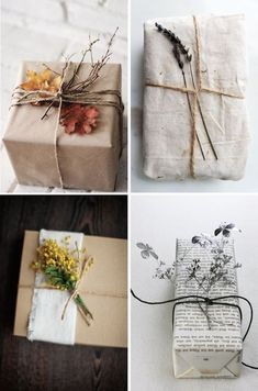 Pretty gift wrap This year, I'm going with a very natural vibe on my gift wrapping [remember my DIY gift wrapping last year?] and I'm using lots of kraft paper and plants. These gift wrapping ideas inspire me much, an Wrapping Ideas, Present Wrapping, Creative Gift Wrapping, Creative Gifts, Diy Wrapping Paper, Diy Paper, Christmas Gift Wrapping, Christmas Diy, Wedding Gift Wrapping