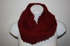 READY to SHIP WINE Infinity Scarf / Cowl, Hand Knit, Bulky / Chunky, Other Colors Avaialble