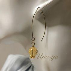 《Gold drop》シトリンピアス ハンドメイドのアクセサリー(ピアス)の商品写真