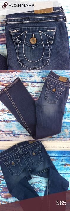 """True Religion Joey Heritage Twisted Seam 29 Authentic True Religion jeans. Minimal wear. Made in the USA. 99% cotton, 1% elastane. Minor wear on cuffs. #062038157.  Cut #602283,style #w102387ED. 29"""" waist, 8"""" front rise, 35"""" inseam. Flap pockets. No trades True Religion Jeans Flare & Wide Leg"""