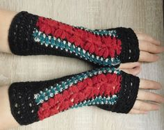 MADE TO ORDER 16101 Black-dark-red-petroleum mittens Fingerless gloves black-dark-red-petroleum Crocheted mittens Black-dark-red gloves by croshetN on Etsy