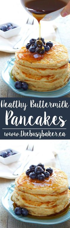 These Healthy Buttermilk Pancakes are the perfect nutritious breakfast made with whole wheat flour and no added fat, and sweetened only with mashed bananas! Hungry for more? Follow me! Like my page on Facebook!  Subscribe! Click here to get free recipes by email! For most of my childhood I grew up eating homemade pancakes...