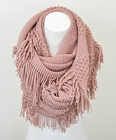 Take a look at this Leto Collection Rose Fringe Infinity Scarf on zulily today!