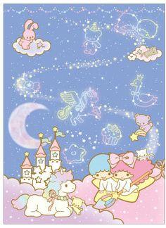 夜空のグッズ☆ ★Little Twin Stars★My sister had heaps of this. My Melody Wallpaper, Sanrio Wallpaper, Star Wallpaper, Hello Kitty Wallpaper, Little Twin Stars, Little Star, Cute Backgrounds, Cute Wallpapers, Keroppi