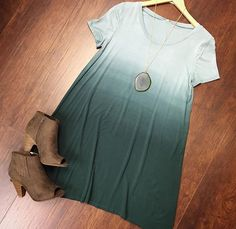 Ombre tshirt dress. Peep toe booties. And that necklace! In Bloom Boutique!