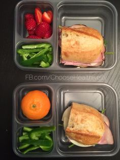 #mykidslunch:  ham, spinach and cheese sandwich. Green peppers. And strawberries it a cutie.  FB.com/ChooseHealthKelly