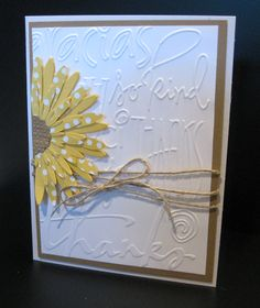 Flower Daisies #2 Sizzix die and Thanks Cuttlebug embossing folder; layout inspired by card pinned by Jaydekay