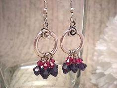 Silver Toggle Purple and Fuchsia Swarovski Earrings | NiteDreamerDesigns - Jewelry on ArtFire