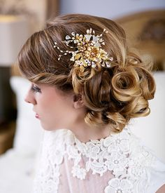 Gold and Pearl Flower Headpiece Gold Bridal by Gilded Shadows
