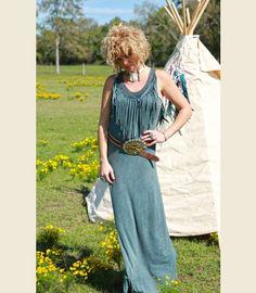 The Mojave Fringe maxi - desert blue OR mojave olive - junk gypsy co Oh my gosh! Dress Me Up, Fancy Dress, Unique Fashion, Boho Fashion, Gypsy Style, My Style, Gypsy Hair, Boho Life, Cowgirl Style