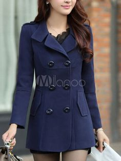 d6c2adc76d0 Women Peacoat Dark Navy Long Sleeve Turndown Collar Double Breasted Woolen  Winter Coat