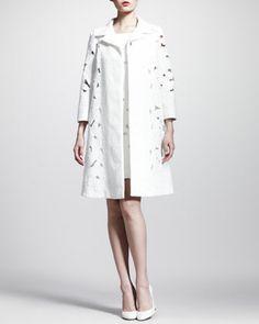 Brocade+Lace+Swing+Coat+and+Cap-Sleeve+Minidress+by+Dolce+&+Gabbana+at+Bergdorf+Goodman.