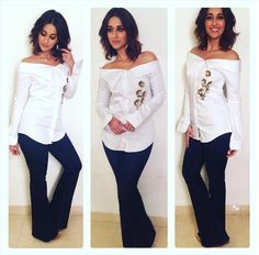 Glam Gal - Ileana D'Cruz Glam Check - Fashion Score 100!! Ileana wore Sonaakshi Raaj 's super chic shirt for #Rustom promotions the other day! and we totally could not stop praising it! The diva look is created using basics out of the wardrobe.  The white shirt gets a glam makeover as it gets off shoulder, stylish collars and golden floral details. The usual denim in blue gets a stylish touch with flared legs.  Her shoulder length hair looks fabulous here.