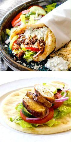 Chicken Gyros, Chicken Gyro Recipe, Lamb Gyro Recipe, Greek Chicken Pita, Greek Recipes, Mexican Food Recipes, Easy Dinner Recipes, Easy Meals, Chicken Wrap Recipes Easy