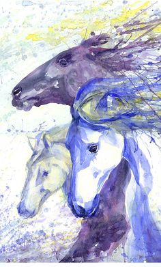 Horse racing, abstract painting, watercolor, horse art print, equestrian, equine, gift for horse lover, decor, wild horse gifts, dressage  Horse racing