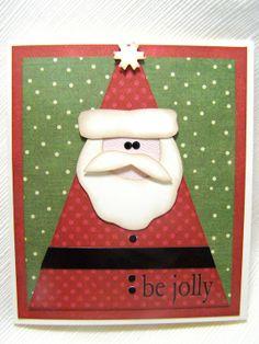 Polka Dot Santa Card by TheCheckerdRabbit on Etsy