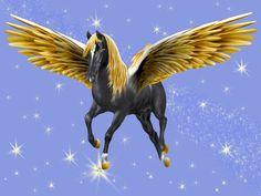 ECM_PegasusGoldenWingsBlackDesktopW-Oglow.jpg (1024×768) by/copyrighted to Artsieladie/Sharon Donnelly