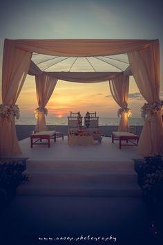 beach decor, outdoor mandap, peach curtain drapes, floral mandap decor