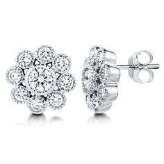 Cubic Zirconia CZ 925 Sterling Silver Flower Stud Earrings 0.4 inch from Berricle - Price: $39.99