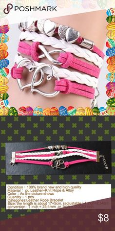 Heart linked lucky8 love ancient leather bracelet Color hot pink and white brand new in package details please see second photo Jewelry Bracelets