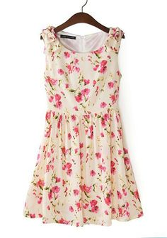 Multicolor Print Bow Round Neck Sleeveless Polyester Dress