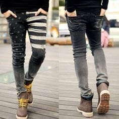 American Flag Skinny Jeans - Mens - Alex Gaskarth/All Time Low Style Punk Rock Fashion, Mens Fashion, Guy Fashion, Black Jeans Men, Korean Brands, Everyday Shoes, Me Too Shoes, Men's Shoes, American Flag