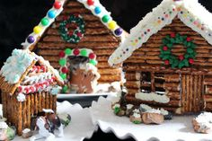 Decorated Pretzel Cabin instead of gingerbread house!