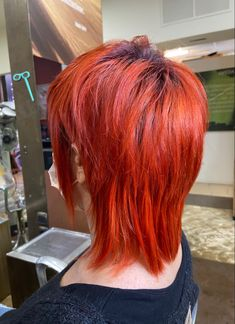 Mullet cut and red color Red Hair Color, Red Color, Mullet Hairstyle, Mullets, Hair Cuts, Long Hair Styles, Beauty, Hairstyles, Haircuts