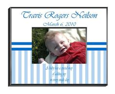 """Personalized  Children's Frames - Baby Boy. Our personalized Children's Frames are perfect for your favorite picture. They make great room decorations and keepsakes. Frames measure 8"""" x 10"""" and hold a 4"""" x 6"""" photo. See individual frame for personalization.This item takes 3-4 business days to process before it ships === Christmas Shipping Cut Off (U.S. Only) === U.S. Std/Ground: Dec. 8th (11:59pm PST) === U.S. 2-Day Express: Dec. 13th (11:59pm PST)"""