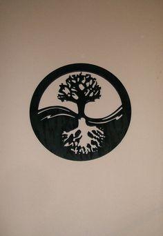 Yin Yang Tree of Life Wood Silhouette Modern Wall Art Wall Decor Drawing Sketches, Pencil Drawings, Art Drawings, Shoe Drawing, Life Tattoos, New Tattoos, Cool Tattoos, Familie Symbol, Chakra Tattoo