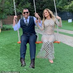Big kids: Jennifer Lopez rocked sheer dress to share a swing with Alex Rodriguez as he declared on Tuesday: 'You make me feel like a kid again' Alex Rodriguez, Demi Moore, Kate Hudson, Ukraine, J Lo Fashion, Editorial Magazine, Jennifer Lopez Photos, Sheer Gown, Glamour