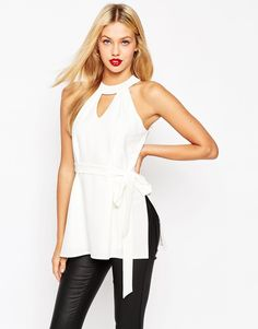 ASOS COLLECTION ASOS Sleeveless Belted Tunic with Keyhole Detail
