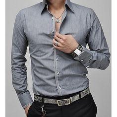 Hombre Negocios   Casual Trabajo Tallas Grandes Algodón Camisa 51867a6bed4