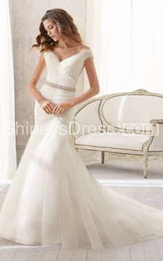 Asymmetrically Draped Soft V-neck Off-the-shoulder Wedding Dress