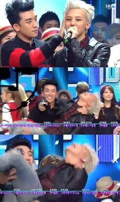 G-Dragon and Seungri ♡ #BIGBANG #G-Ri. GD was so embarrassed, hahaha they are toooo cute . #inkigayo