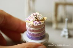 Dollhouse Miniature Food - Purple Ombre Flower Cake 1:12th
