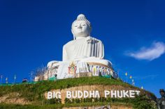 The Big Buddha of Phuket (pictured) is located on the peak of a mountain near Muang Phuket, or Phuket Town on Phuket Island. The image is 45m in height and covered in white Burmese marble. Other attractions include: Kamala Beach, Thalang National Museum, Two Heroines Monument and Patong Beach.