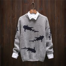2016 Japanese Retro Men Christmas Sweater Fashion Thickening Men's knitted Sweater Patterns Shark O-neck Sweaters Men Pullovers //Price: $US $25.19 & Up to 18% Cashback on Orders. //     #jewelry