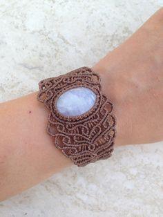 Rainbow moonstone Macrame Bracelet Handmade by ARTofCecilia, $45.00