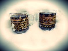 Clear Glass Mugs, Set of 4, hand-painted henna-mehndi gold metallic  www.facebook.com/behennaed