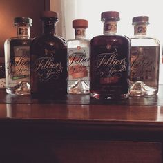 """Collection Filliers Gin, complete ! #gin #gintonic #collection #filliers #pineblossom #drygin #barrelaged #tangerine #sloegin"""
